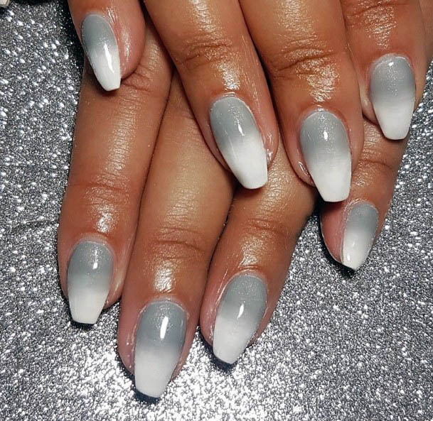 Cloudy White Ombre Nails Women