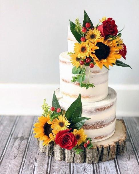 Clustered Sunflowers Decor Womens Wedding Cake