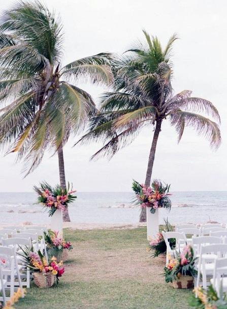 Coconut Trees And Hawaiian Wedding Flowers