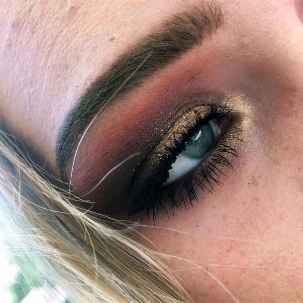 Coffee Brown And Gold Eyeshadow Women