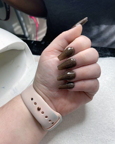 Coffee Brown Shiny Nails Women
