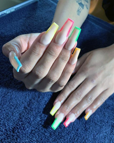 Coffin Nails Colorful Tips Ideas For Women