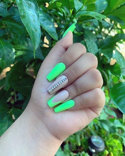 Coffin Shaped Neon Green Nails With Rhinestones