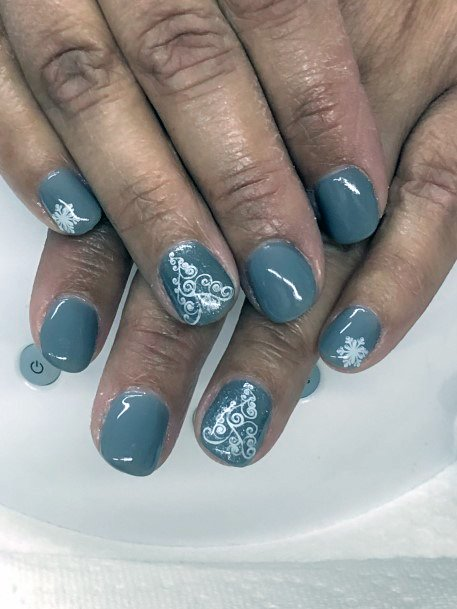 Cold Blue And Grey Snow Nails Women