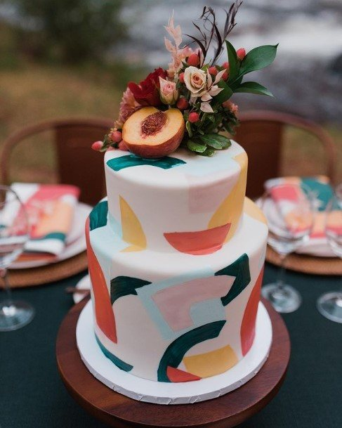 Colored Funky 2 Tiered Wedding Cake