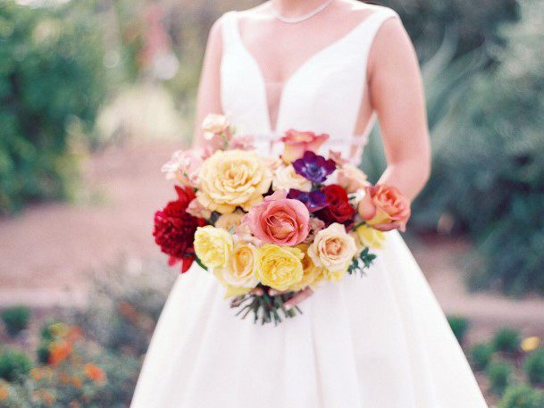 Colored Rose Bunch And Yellow Wedding Flowers