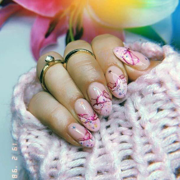 Colored Scratches Design On Light Pink Nails