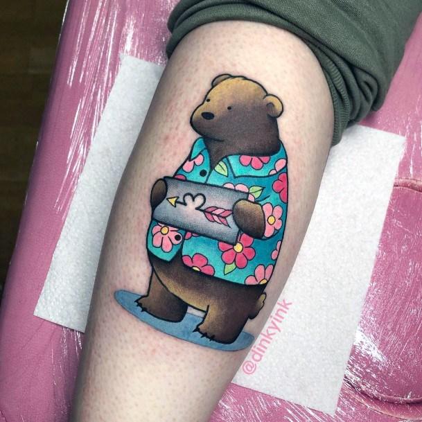 Colored Shirt Bear Love Tattoo For Women