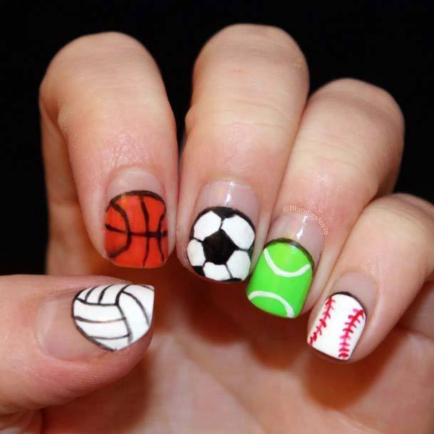 Colorful Ball Textured Sport Nails For Women