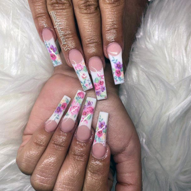 Colorful Blooms On Tips Manicure Nail Ideas For Women