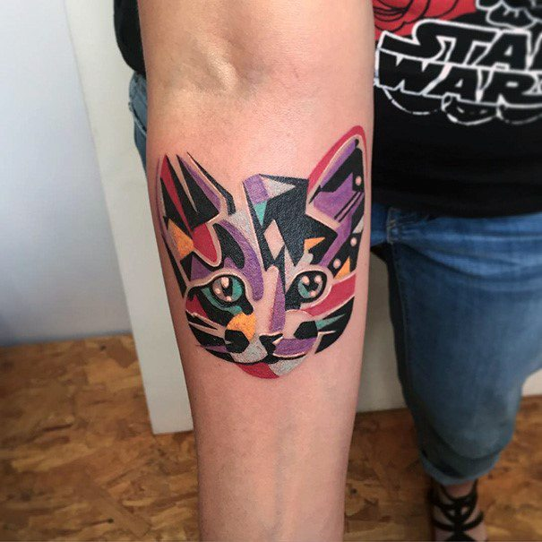 Colorful Modern Art Tattoo Of Cat For Women