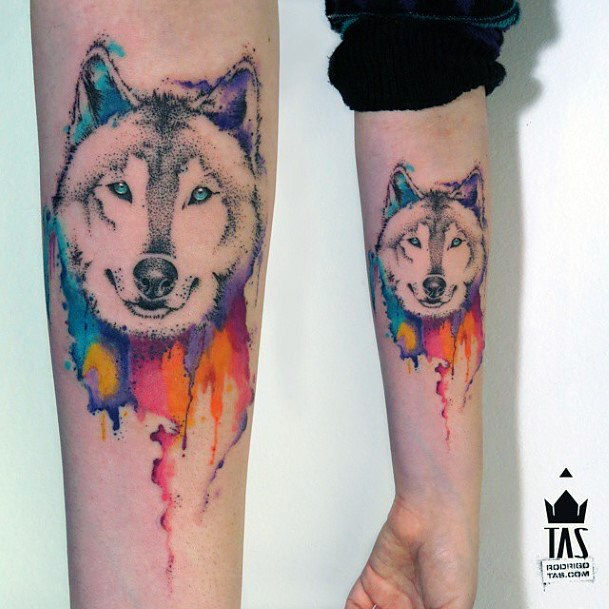 Colorful Paint Dog Tattoo Women