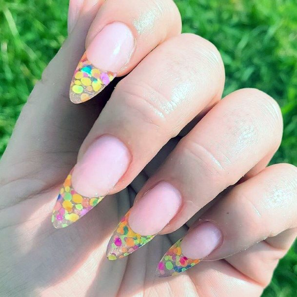 Colorful Spherical Glitters Nail Ideas For Women