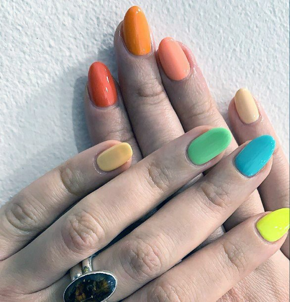 Colorful Summer Shellac Nails For Women