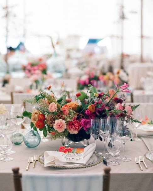 Colorful Table Decorations Indian Flowers Wedding