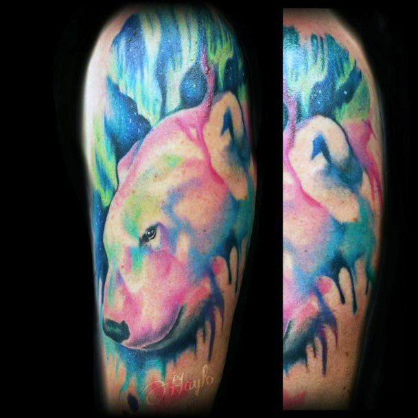 Colorful Watercolor Tattoo Of Bear Womens Upper Arms