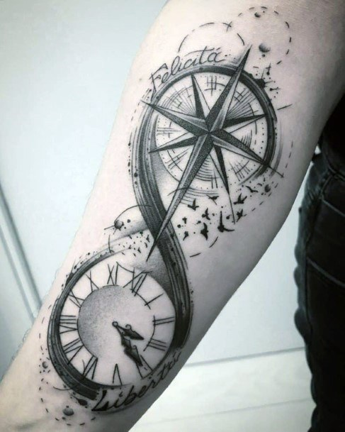 Compass And Clock Infinity Tattoo Womens Hands