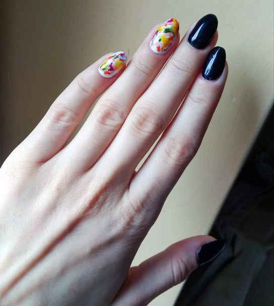 Confetti And Black Dual Nails Women
