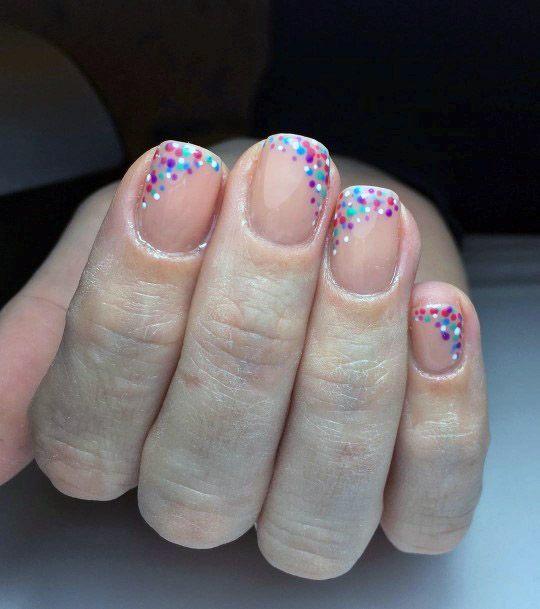Confetti Dots Nude Nail Design For Women