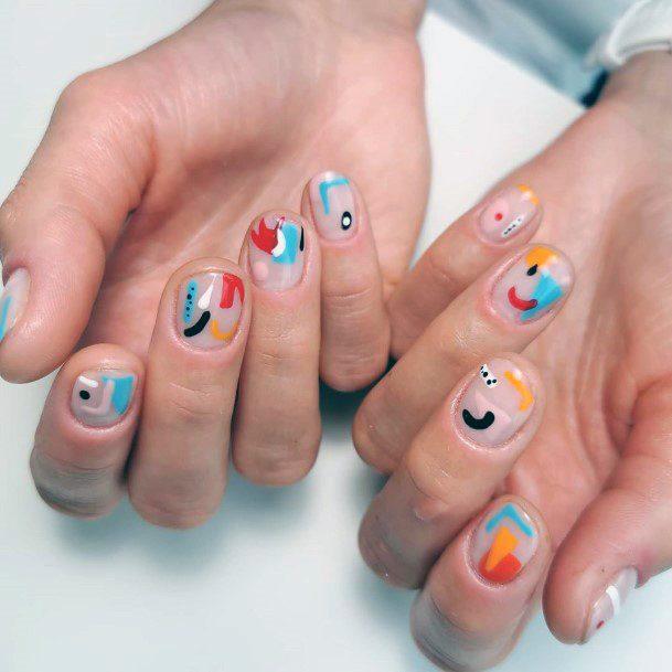 Confetti Transparent Shellac Nails For Women
