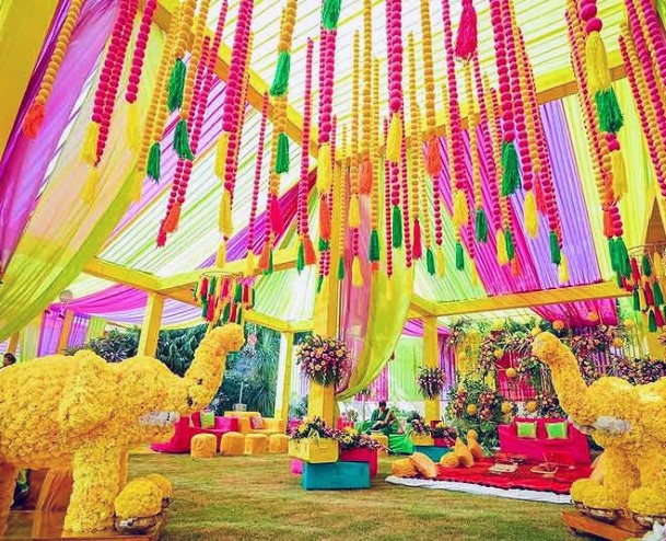 Confetti Yellow And Red Elephants And Streamers Indian Wedding Flowers