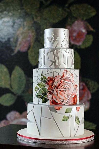 Cool Geometric Design With White And Silver And Large Rose Design Wedding Cake Ideas