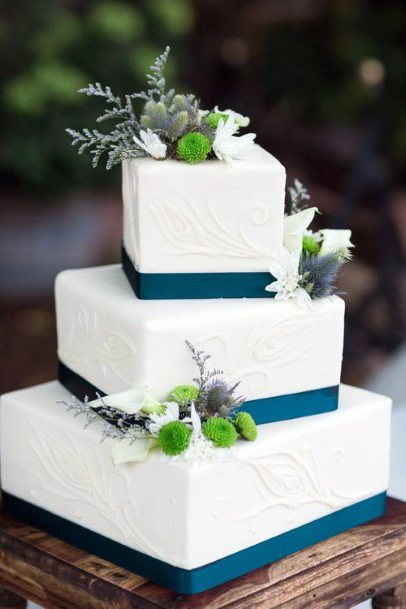 Cool Square Tiered White Cake With Teal And Floral Wedding Cake Ideas