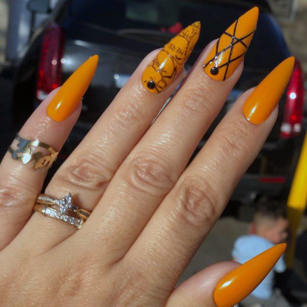 Top 50 Best Orange And Black Nail Ideas For Women - Fall ...