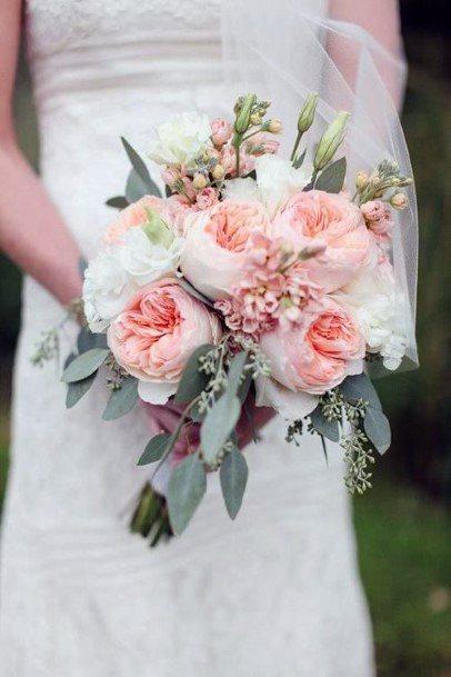 Coral Blush Roses Wedding Flowers