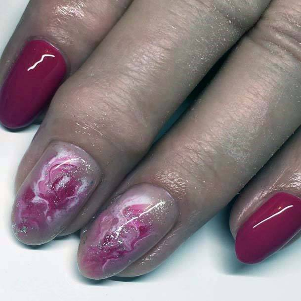Coral Pink And Red Nails For Women