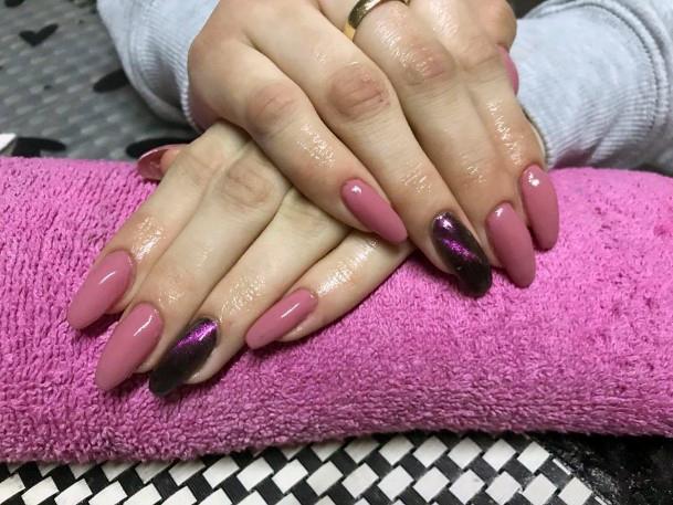 Coral Pink Cat Eye Nails