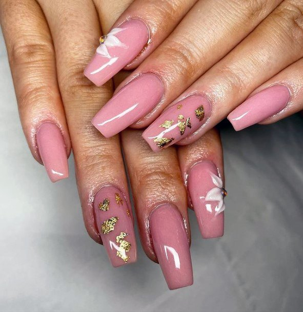 Coral Pink Nails Women 3d Flowers Gold
