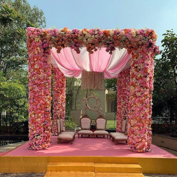 Coral Pink Themed Lotus Shaped Curtains Indian Wedding Flowers