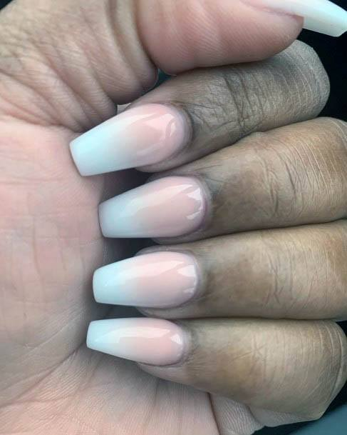 Coral White Ombre Nails Women