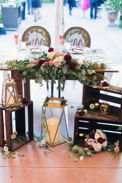 Country Sweetheart Table Decor Wood Boxes With Floral Inspiration Fall Wedding Ideas