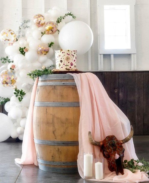 Country Wedding Cake On Barrell