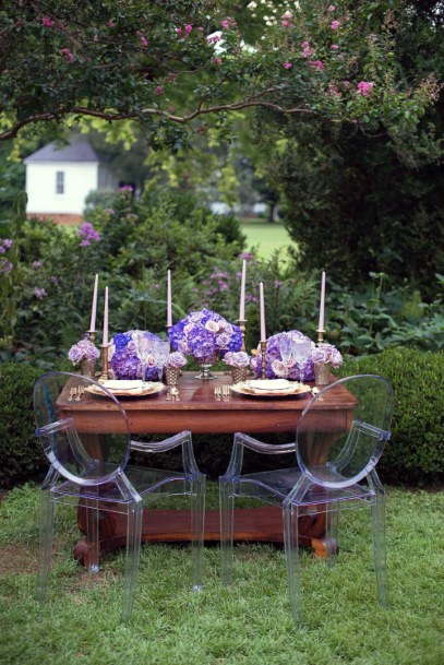 Couple Dining Decor Lavender Wedding Flowers