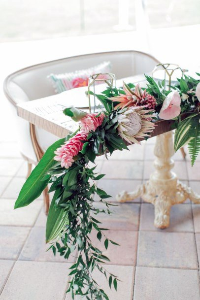 Couple Sofa With Tropical Wedding Flowers