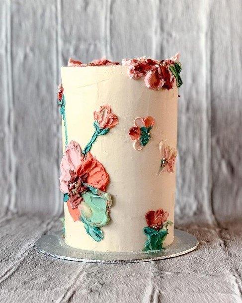 Creamy Floral Beautiful Cake Wedding