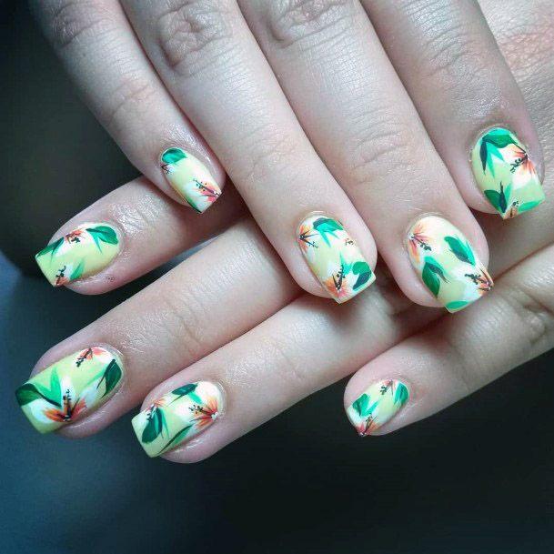 Creamy Green Tropical Nails Women