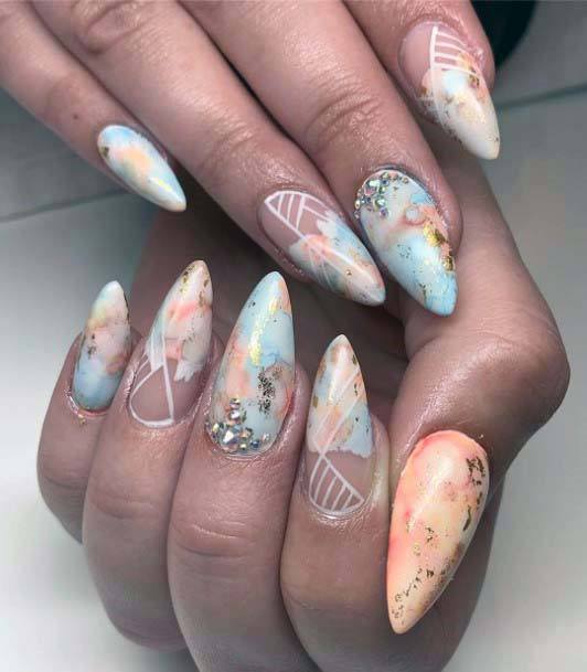 Creamy Marble Art Orange And Blue Nails For Women