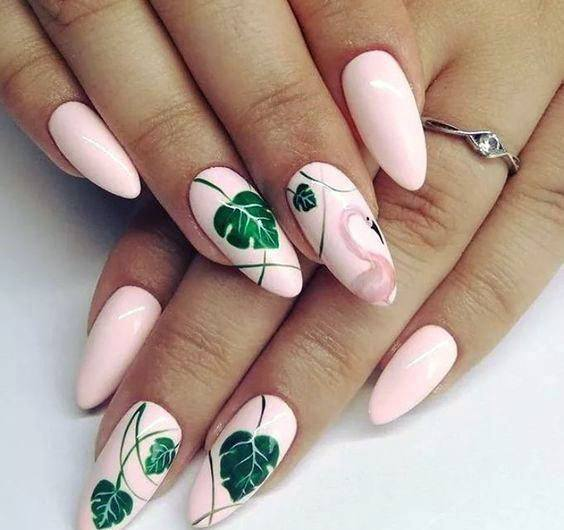 Creamy Pink Nails With Green Leaf Art And Flamingo Women