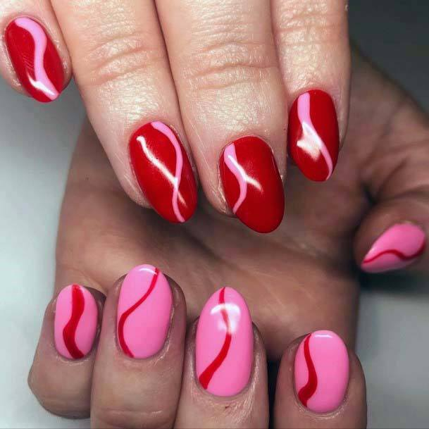 Creamy Red And Pink Nails For Women
