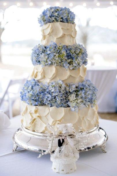 Creamy Wedding Cake With Blue Hydrangea Flowers