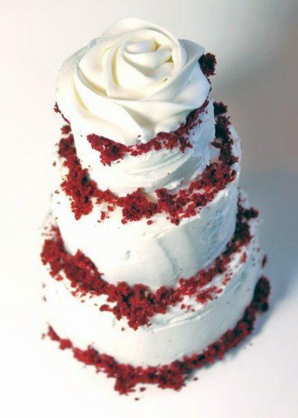 Creamy White Red Velvet Wedding Cake
