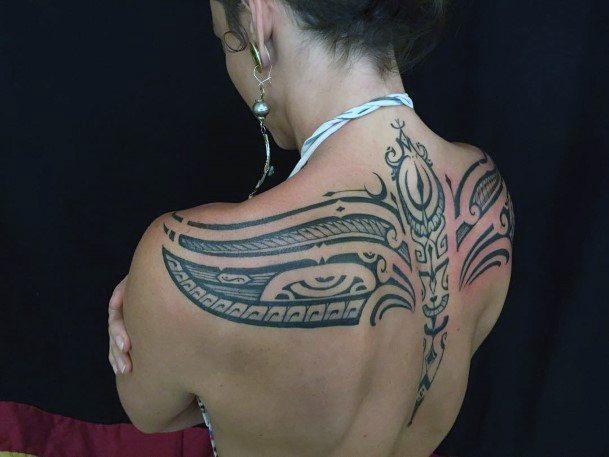 Creative Tribal Tattoo Womens Back