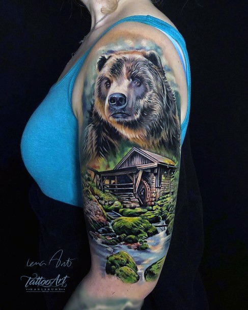 Creek Side Cottage And Bear Tattoo For Women Color Realistic