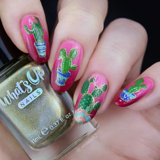 Crimson Pink Nails With Cactus Women