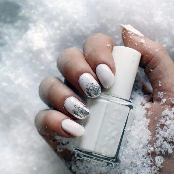 Crisp White Snow Nails With Silver Foil Effect Women
