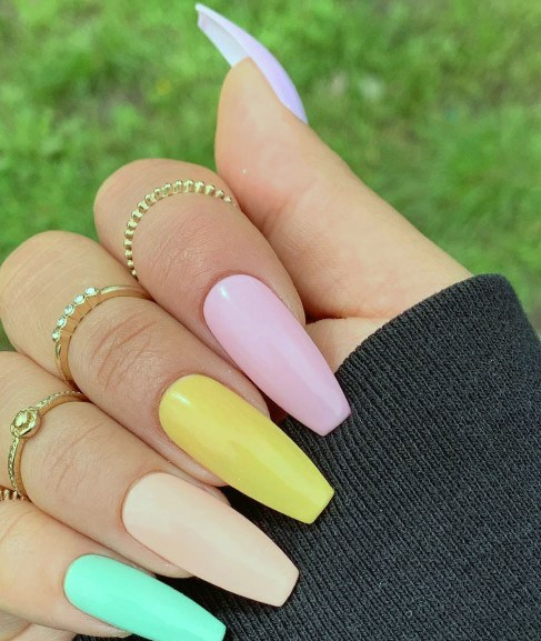 Crispy Different Colored Nails
